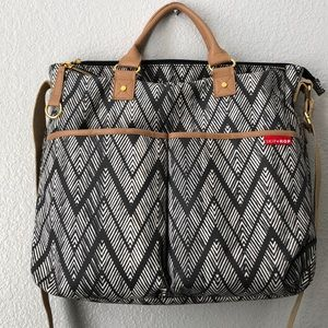 Skip Hop Diaper Bag in ZigZagZebra Print.